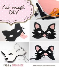 DIY cat mask made of paper and wool felt. If you don't feel like sewing, glue it!
