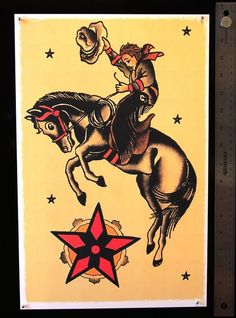 Traditional cowboy riding horse with star tattoo design
