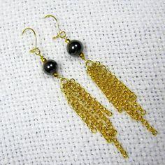 Long Chain Earrings Gold Chain Earrings Long Gold Earrings
