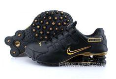 Men's Nike Shox NZ Shoes Black/Gold Super Deals