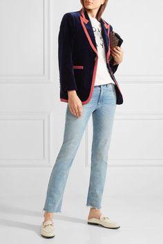 Gucci - Grosgrain-trimmed Velvet Blazer - Navy
