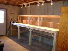"""3/4"""" AC Plywood makes for a smooth and sturdy surface. Double 2x4"""" across the front set on top of 4x4"""" post gives strength and sturdiness to mount a vise, reloading press, or other tools. http://tiogapahandyman.com"""