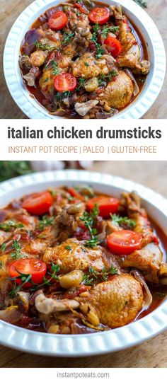 Italian Chicken Drumsticks With Garlic & Thyme - Instant Pot Recipe paleo crockpot easy Chicken Leg Recipes, Chicken Drumstick Recipes, Recipe Chicken, Chicken Legs, Baked Chicken, Instant Pot Pressure Cooker, Pressure Cooker Recipes, Pressure Cooking, Slow Cooker