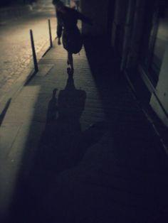 my old mucker Rose looking Noir on a street in France Shadows, Amber, Sidewalk, Silhouette, France, Street, Rose, Darkness, Pink