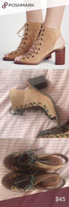 Size 8 Free People x Jeffrey Campbell Heels Heeled lace up sandals! Great condition Free People Shoes Sandals