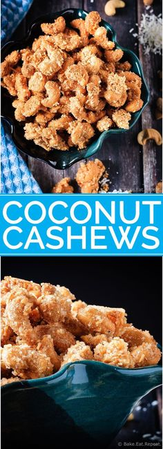 These candied coconut cashews are completely addictive. So good that you will not want to stop eating them until they're gone. And you have to make more.