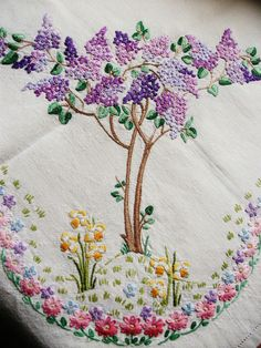 """Vintage Hand Embroidered Linen Tablecloth - LILAC & DAFFODIL FIELDS - 40"""" X 41"""" in Antiques, Fabric/ Textiles, Embroidery 