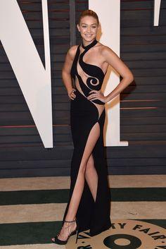 Gigi Hadid wearing Atelier Versace Spring 2015 Dress, Martin Katz Earrings and Zuhair Murad Heels