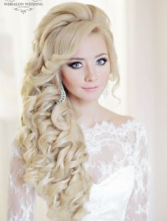 long wedding hairstyle with gorgeous curls; via Websalon Weddings