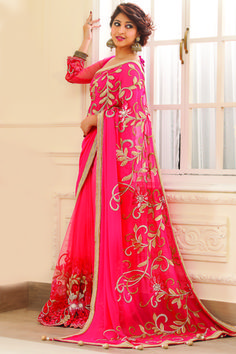 Light pink georgette & net combo zari worked saree in golden border