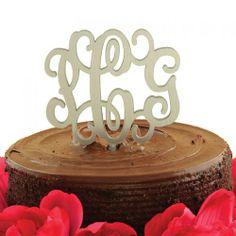initial cake topper | Script Monogram Cake Topper ~ 19 Acrylic Colors