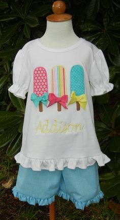 Appliqued Popsicle Shirt with Monogram and Matching Ruffle Shorts