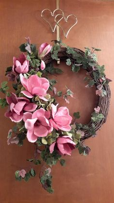 Pinkish Mauve Shade, Magnolia Grapevine Wreath by GoodWreathsByKathy on Etsy