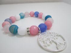 Agate bracelet blue druzy agate blue faceted Rose by Lenajoyas