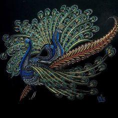 Instagram photo by Cristóbal Iglesias (@civ99) 11/01/2016 It has been a while. 2 Peacocks. Iridescent ink and 24K gold on paper. #caligrafia #calligraphy #ornamental #penmanship #flourishing #flourish #arte #art #drawing #dibujo #handmade #handdrawn