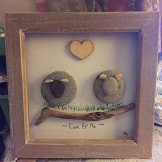 """Ewe & Me' sheep pebble art birthday engagement anniversary I.O.W wedding gift | eBay"