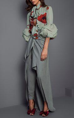 Alana Scarf Neck Double Georgette Bodysuit by JOHANNA ORTIZ for Preorder on Moda Operandi