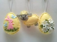 DELIVERY AFTER CHRISTMAS Felt easter decoration - felt eggs with flowers and sheep ornaments baby yellow buttercup and baby blue / set of 3