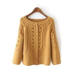SheIn(sheinside) Yellow Cabel Knit Button Front Sweater ($29) ❤ liked on Polyvore featuring tops, sweaters, yellow, knit sweater, brown knit sweater, button sweater, long sleeve sweaters and yellow knit top