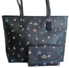 91c11b72f434 COACH City Zip Tote Bag   Medium Envelope Wallet ~ Vintage Prairie Print  Floral  Coach