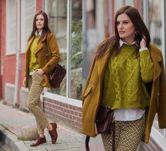 Viktoriya Sener - Sheinside Coat, Sheinside Sweater, Sheinside Pants, Massimo Dutti Bag, Massimo Dutti Brogues - MUSTARD