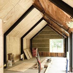 Barnhouse Cabin — Sheeting - one layer of plywood and one layer of. Steel Frame House, A Frame House, Steel House, Steel Building Homes, Building A Cabin, Modern Barn House, Barn House Plans, Shed Homes, Cabin Homes