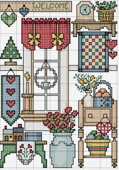 Cross stitch pattern, motive-country ... no color chart available, just use pattern chart as your color guide.. or choose your own colors...