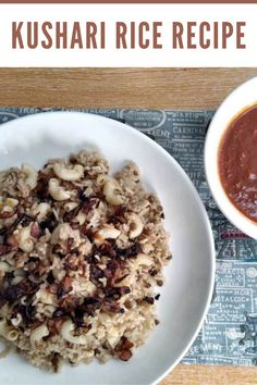 Koshari is an Egyptian rice recipe that is mixed with macaroni, brown lentils, and garnish with fried brown onion, which is served with tomato garlic sauce. #kushari #egyptiandish #veganricedish