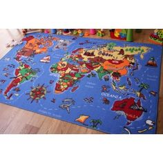 World Map & Country Educational Fun Kids Rug