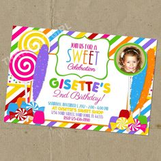 Candy Shop Birthday Party Invitations Digital U Print & FREE Favor Tags/Cupcake Toppers. $14.99, via Etsy.