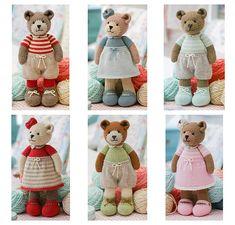 New 6 Teddy Bear variations& Girl Bears& Boy Bears& Toy Teddy Bear Knitting Pattern, Knitted Teddy Bear, Teddy Bear Toys, Crochet Teddy, Crochet Bear, Knitting Patterns, Knitting Bear, Little Cotton Rabbits, Knitted Animals