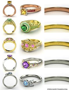 Legend of Zelda rings. I like the Navi Fairy one the most. I think we are both just as annoyed by her as the other is.