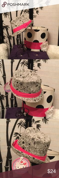 Hello Kitty 🐱 fedora Beautiful gray auth Hello kitty 🐱 hat black lettering and pic designs A pink and ribbon 🎀 bow Hello Kitty Accessories Hats