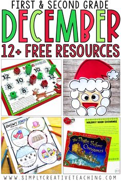 Grab these free December classroom activities and resources for your first grade and second grade students. These Christmas printables, writing activities, crafts, math centers, and worksheets are perfect for your holiday plans. There are also read aloud activities and a craftivity! You can use these with the 12 days of Christmas with 1st grade or 2nd grade. Some of the crafts included are perfect for December bulletin board displays!