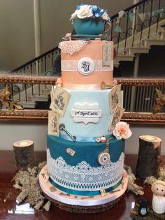 Bleu et orange gâteau mariage originale