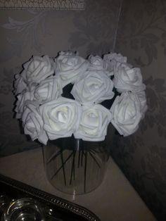 White fake roses