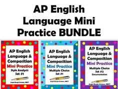 Great for bell-ringer review! AP English Language Mini Practice BUNDLE (15 bell-ringer/warm-up exercises priced at $9. Questions are based on released AP Lang. exams. Each set priced individually is $4, so save $3 when you purchase 3).