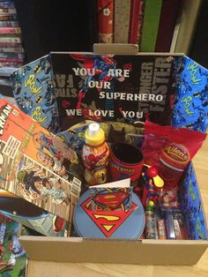 Your our superhero care pack to my man on deployment! He's a big kid at heart!
