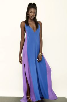 Maxi Slip Dress by Carlton Jones. #fashion #mode #women #blue #purple #ideas #gown