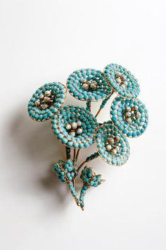 Maison Gripoix (circa 2000), France Floral brooch. Simulated turquoise stones, simulated pearls, gold plated. © Pablo Esteva  - The Collection of Barbara Berger