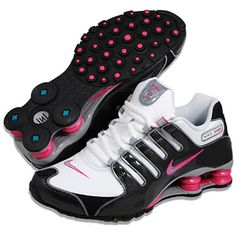 @Overstock - These Nike Shox running shoes feature Nike's Shox midsole for impact-absorption to enhance any athletic activity from running to basketball. These shoes feature a modern look in black, pink and white.   http://www.overstock.com/Clothing-Shoes/Nike-Womens-Shox-NZ-SL-White-Black-Pink-Running-Shoes/7828114/product.html?CID=214117 $129.99 Best Running Shoes, Nike Running, Nike Shox For Women, Nike Women, Nike Shocks, Size 10 Women, Nike Tennis, White Nikes, Hiking Boots