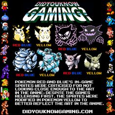 Pokemon Red, Blue and Yellow.  didyouknowgaming.com