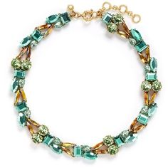 j.crew Mixed crystal necklace ($120) ❤ liked on Polyvore featuring jewelry, necklaces, crystal stone jewelry, crystal jewelry, teal necklace, j crew jewelry and teal jewelry