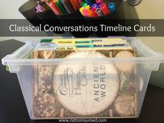 Organization leads to a much more efficient school day. Classical Conversation (CC) materials, are no exception. However, they do present a challenge. The timeline cards are big and numerous. The review cards are small and easy to get mixed-up. So, I came up with a plan that works for me!