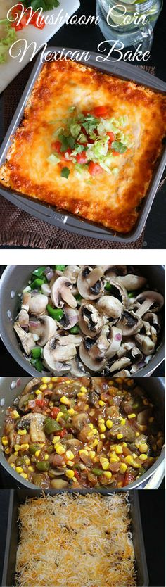 Mushroom and Corn Mexican Bake is an easy Mexican recipe made with layers of mushroom, salsa, sour cream, cheese and baked until golden.