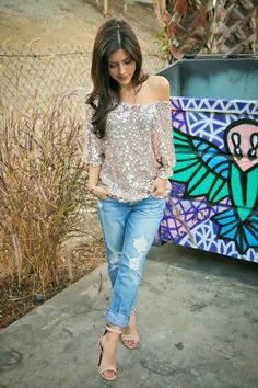 off the shoulder sequin top with distressed denim