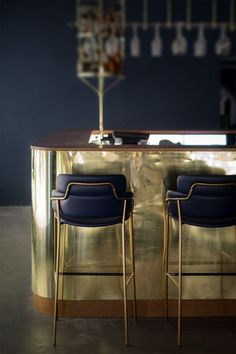 Whether you're looking for some sophisticated upholstered bar stools for a home decor or restaurant interior project, here is a selection of some of the best! Restaurant Design, Architecture Restaurant, Deco Restaurant, Luxury Restaurant, Restaurant Lighting, Cafe Bar, Interior Inspiration, Room Inspiration, Cafe Design