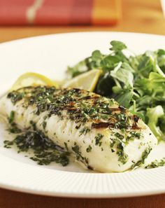 Grilled Hallibut in flavored butter sauce