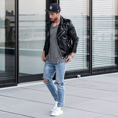 Biker jacket + longline + denim + white chucks = my spring uniform. Now, if only I could pull off a hat.