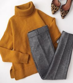 <mustard, grey tweed & leopard for > ps - these are the pants from my Columbus Day sale blog post, updated this morning!